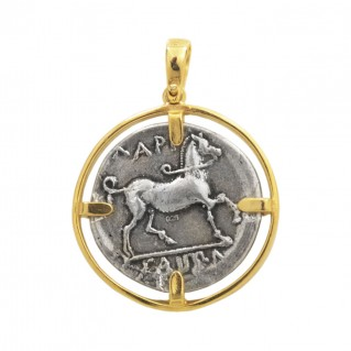 Nymph Larissa & Horse Ancient Didrachm Coin ~ Sterling Silver Coin Pendant