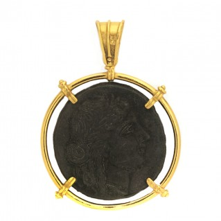 Aphrodite & Asclepius Ancient Tetradrachm ~ Bronze & Silver Coin Pendant