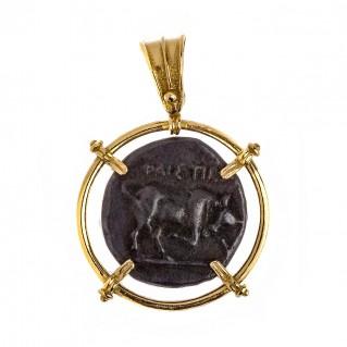 Talos and Bull - Phaistos Crete Stater ~ Bronze & Silver Coin Pendant