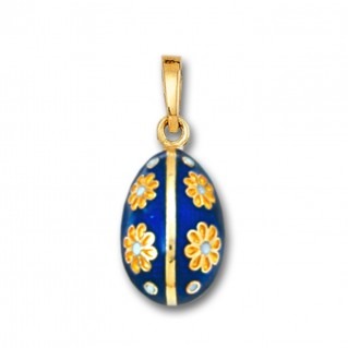 Egg Pendant with Flowers ~ 14K Solid Gold and Hot Enamel - B/Small
