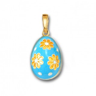 Egg Pendant with Flowers ~ 14K Solid Gold and Hot Enamel - A/M