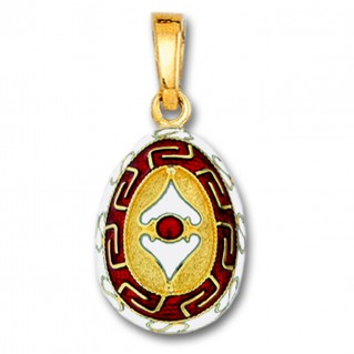 Meander and Spear Egg Pendant ~ 14K Solid Gold and Hot Enamel ~ A/Large