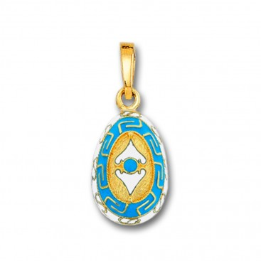 Meander and Spear Egg Pendant ~ 14K Solid Gold and Hot Enamel ~ A/Small