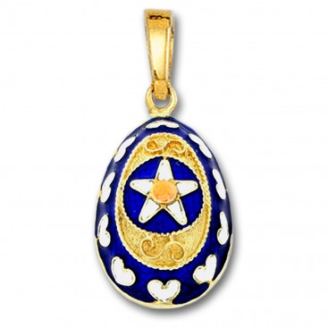 Star and Hearts Egg Pendant ~ 14K Solid Gold and Hot Enamel ~ A/Large