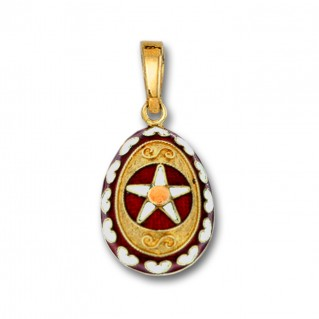 Star and Hearts Egg Pendant ~ 14K Solid Gold and Hot Enamel - A/Medium