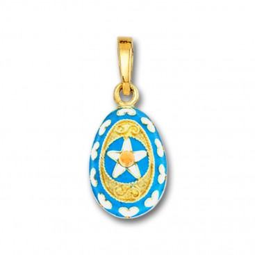 Star and Hearts Egg Pendant ~ 14K Solid Gold and Hot Enamel ~ A/Small