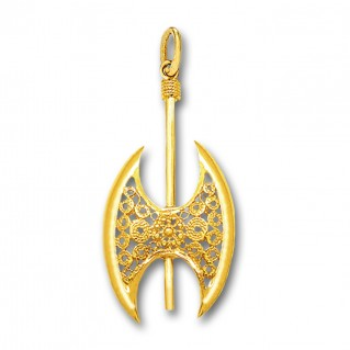 Minoan Double Axe - 14K Solid Gold Pendant D/Large