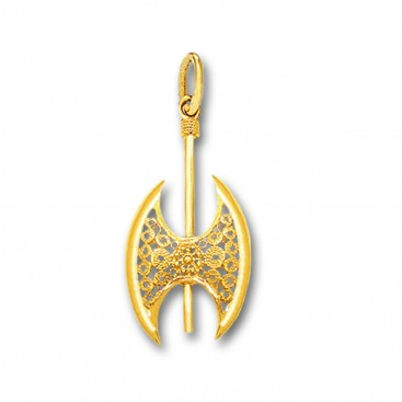 Minoan Double Axe - 14K Solid Gold Pendant D/Small