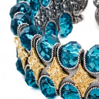 B216 ~ Sterling Silver and Swarovski - Medieval Byzantine Bracelet