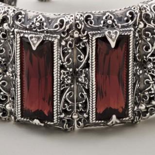 B242 ~ Sterling Silver and Swarovski - Medieval Byzantine Bracelet