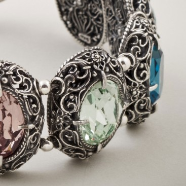 B251 ~ Sterling Silver and Swarovski - Medieval Byzantine Bracelet