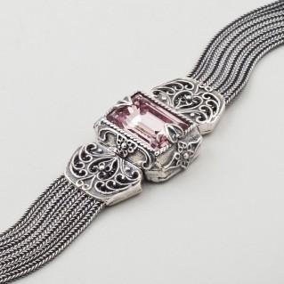B269 ~ Sterling Silver with Swarovski - Medieval Byzantine Bracelet