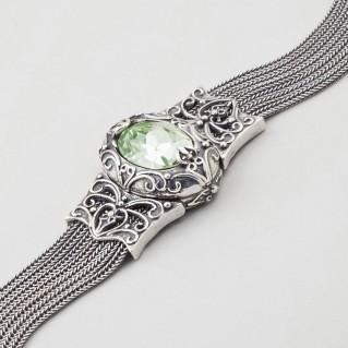 B270 ~ Sterling Silver with Swarovski - Medieval Byzantine Bracelet