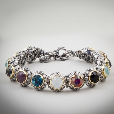B274 ~ Sterling Silver and Swarovski or Pearls - Medieval Byzantine Bracelet