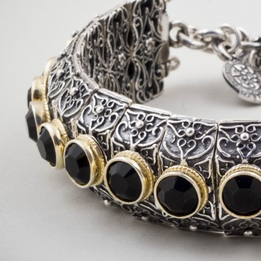 B277 ~ Sterling Silver and Swarovski - Medieval Byzantine Bracelet