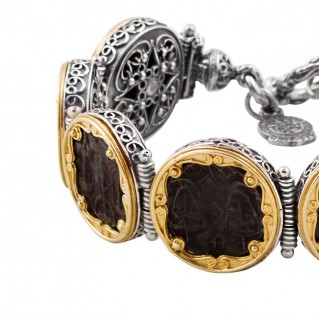 B278 ~ Silver & Bronze Medieval Byzantine Coin Bracelet