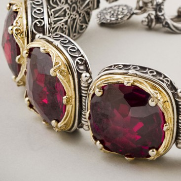 B280 ~ Sterling Silver and Swarovski - Medieval Byzantine Bracelet