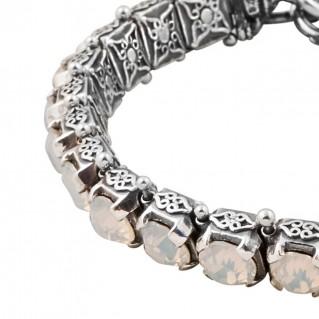 B283 ~ Sterling Silver and Swarovski - Medieval Byzantine Link Bracelet