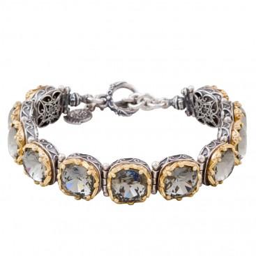 B290 ~ Sterling Silver and Swarovski - Medieval Byzantine Bracelet