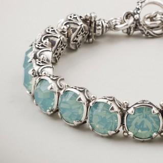 B297 ~ Sterling Silver and Swarovski - Medieval Byzantine Link Bracelet