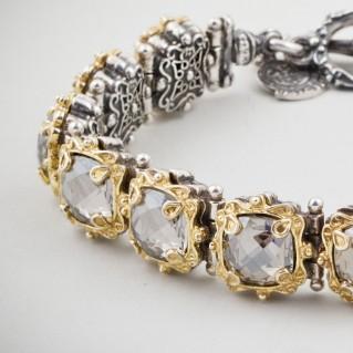 B304 ~ Sterling Silver & Swarovski - Medieval Byzantine Link Bracelet
