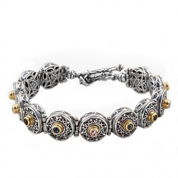 B307 ~ Sterling Silver and Swarovski - Medieval Byzantine Bracelet