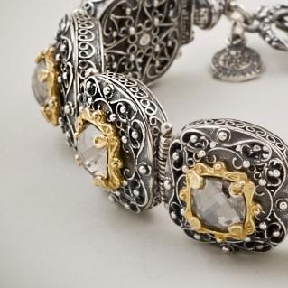 B308 ~ Sterling Silver and Swarovski - Medieval Byzantine Bracelet