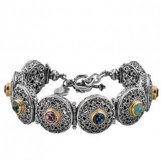 B309 ~ Sterling Silver and Swarovski - Medieval Byzantine Bracelet