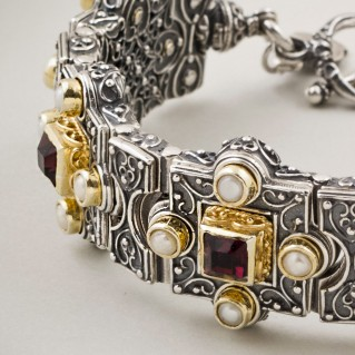 B311 ~ Silver, Swarovski & Pearls - Medieval Byzantine Bracelet
