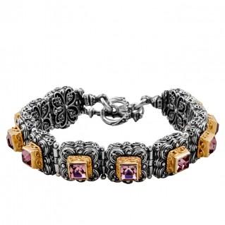 B312 ~ Sterling Silver and Swarovski - Medieval Byzantine Bracelet