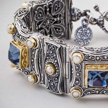 B316 ~ Sterling Silver and Swarovski - Medieval Byzantine Bracelet