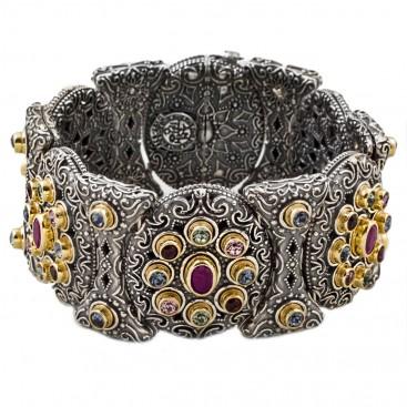 B328 ~ Sterling Silver, Ruby & Swarovski - Medieval Byzantine Bracelet