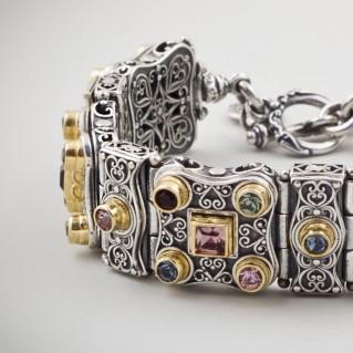 B329 ~ Sterling Silver and Swarovski - Medieval Byzantine Link Bracelet