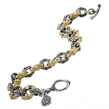 B330 ~ Sterling Silver Medieval Byzantine Chain Two Tone Bracelet
