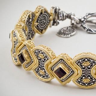 B335 ~ Sterling Silver and Swarovski - Medieval Byzantine Bracelet