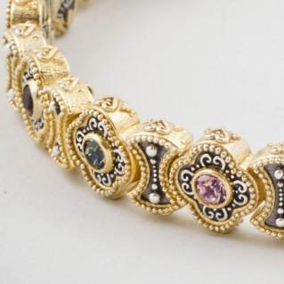 B336 ~ Sterling Silver and Swarovski - Medieval Byzantine Bracelet