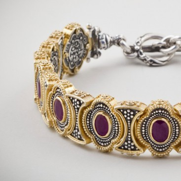 B338 ~ Sterling Silver and Gemstones - Medieval Byzantine Bracelet