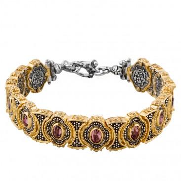 B338 ~ Sterling Silver and Swarovski - Medieval Byzantine Bracelet