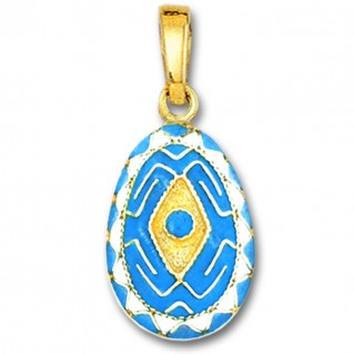 Rhombus and Meander Egg Pendant ~ 14K Solid Gold and Hot Enamel - A/Large