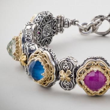 B339 ~ Sterling Silver and Stones - Medieval Byzantine Bracelet