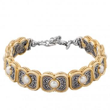B340 ~ Sterling Silver with Gemstones - Medieval Byzantine Bracelet