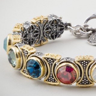 B341 ~ Sterling Silver & Multicolor Swarovski - Medieval Byzantine Link Bracelet
