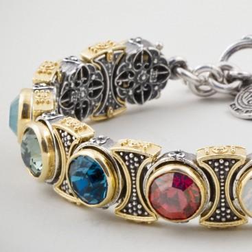 B341 ~ Sterling Silver & Multicolor Swarovski - Medieval Byzantine Link Bracelet