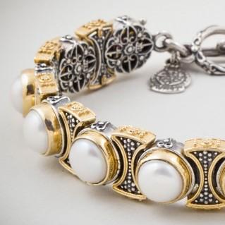 B341 ~ Sterling Silver & Pearls - Medieval Byzantine Link Bracelet