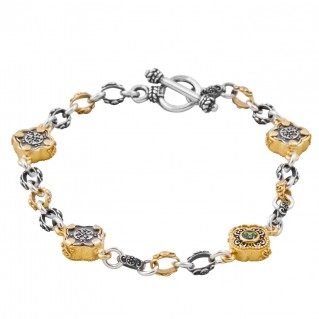 B342 ~ Silver and Swarovski - Medieval Byzantine Bracelet