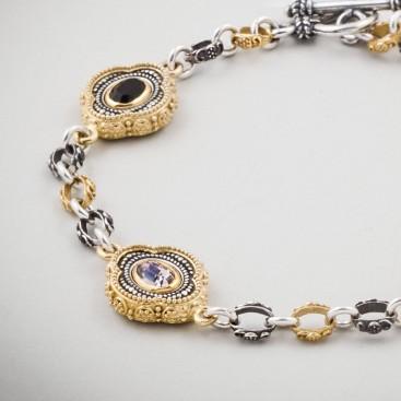 B343 ~ Sterling Silver and Swarovski - Medieval Byzantine Bracelet