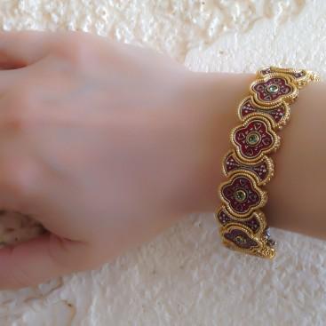B344 ~ Silver, Enamel and Swarovski - Medieval Byzantine Bracelet