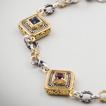 B345 ~ Silver and Swarovski - Medieval Byzantine Bracelet