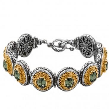 B346 ~ Sterling Silver and Swarovski - Medieval Byzantine Bracelet