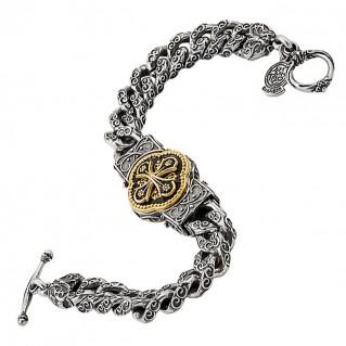 B348 ~ Sterling Silver Medieval Byzantine Cross Bracelet